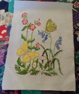 Completed cross stitch butterflies&flowers