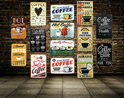 Coffee Slogan Tin Poster Vintage Metal Sign Bar Cafe Art Wall Decor Plaque 8x12/""