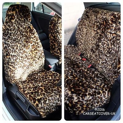 Infiniti Q60 Convertible  - LEOPARD Faux Fur Furry Car Seat Covers - Full Set