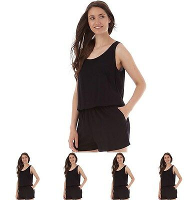 "SPORTIVO Only Womens Nova Solid Playsuit Black UK 6 Euro 34 Waist 25"" Size 34"