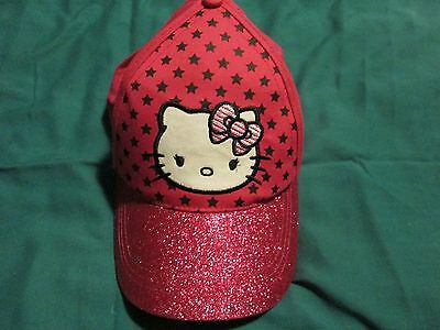 NWOT Girl's Pink Sparkly Hello Kitty Baseball Hat by Sanrio One Size Adjustable