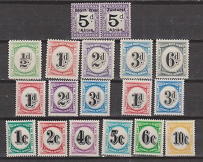 S W A 1924/61 Postage Due Values Mounted Mint