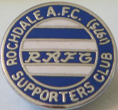 ROCHDALE AFC Vintage 1975 SUPPORTERS CLUB Badge Brooch pin in chrome 20mm x 20mm