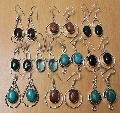 WHOLESALE LOT 10 Pcs GOLDSTONE & Mix GEMSTONE .925 SILVER OVERLAY EARRINGS