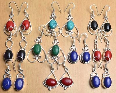 WHOLESALE LOT 10 Pcs & Mix GEMSTONE .925 SILVER OVERLAY EARRINGS Jewelry