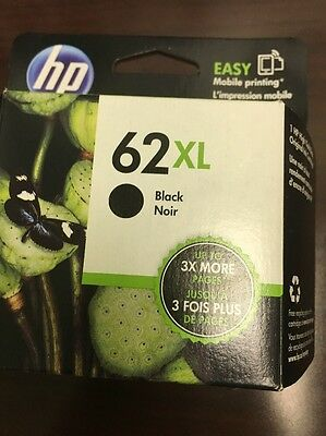 HP 62 XL HIGH YIELD GENUINE BLACK INK CARTRIDGE, NEW IN BOX Exp DEC 2017