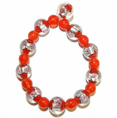 """G4258t Red w Silver & Pink Flower 12mm & Red 8mm Round Lampwork Glass Beads 7"""""""