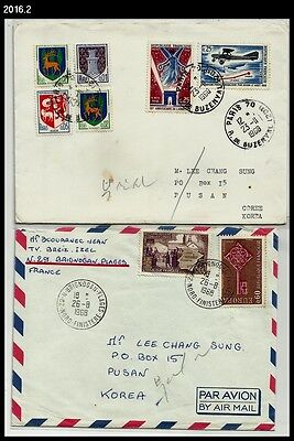 2x France 1968 Cover to Korea