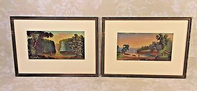 Pair of Hudson River Valley Oil on Board Paintings in Frame Late 19th Century