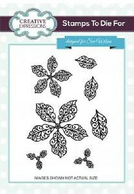 CREATIVE EXPRESSIONS Cut Mounted STAMPS 2 DIE FOR Sue Wilson FILIGREE POINSETTIA