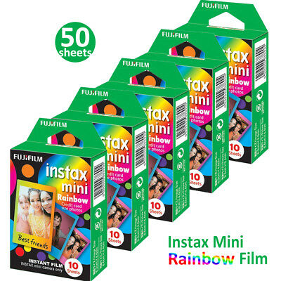 50 Rainbow Fujifilm Instax Mini Instant Film For Fuji 7s 8 70 90 Instant Camera