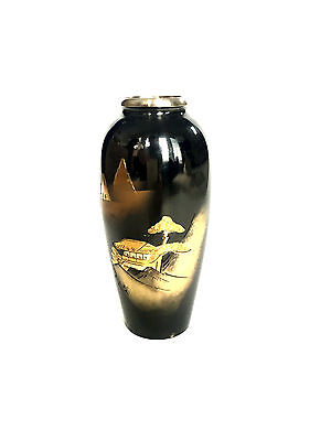 JAPANESE Mixed Metal Black Gold Silver Miniature Vase