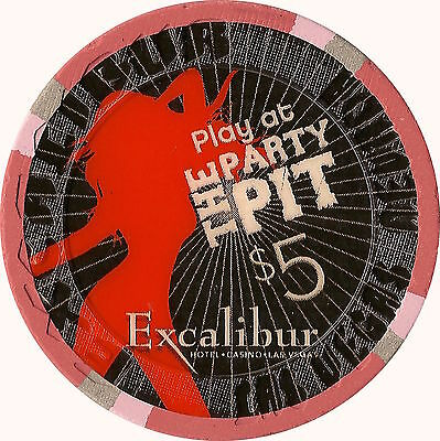 Las Vegas Excalibur Casino $5 Play At The Party Pit Chip