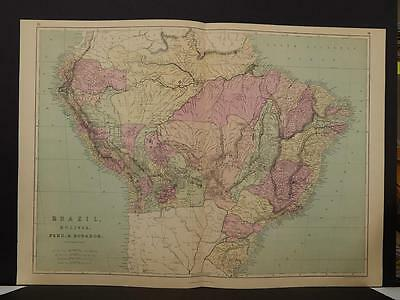Antique Map, 1873, Brazil Bolivia Peru Ecuador Double Page R4#08