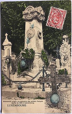 Luxembourg PC 1908 Monument for French soldiers killed in 1870, mailed to US