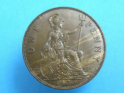 1935 King George V - BRONZE PENNY COIN - Good Detail