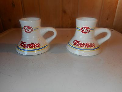 Matching Pair Post Toasties Cereal Coffee Mugs Cup No Spill Vintage