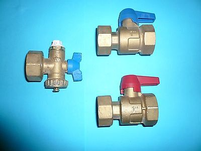 "Two 1"" Under Floor Heating Manifold Valves + D/o & Vent- Used Once For Testing"