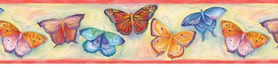Watercolor Butterfly with Orange Edge Wallpaper Border GU92142B
