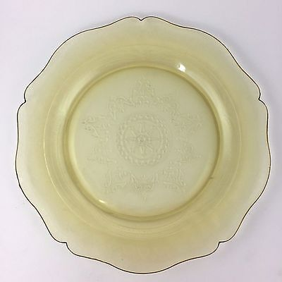 Federal Glass Patrician Spoke Dinner Plate Amber Depression 11 Yellow Vintage
