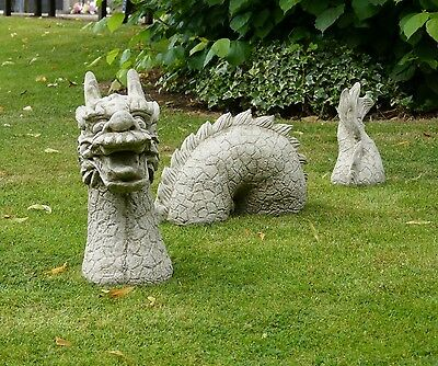 Large 3 Pieces Dragon Statue Garden Ornament Stone Decor Handmade Gift Modern
