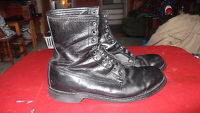 Military Style Black Leather Boots Men's Size 10.5