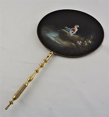 Late 19Th Century Ladies Hand Painted Fan- Girl Holding Fishing Pole...