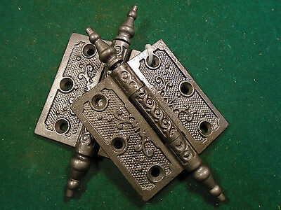 "Pair Vintage Eastlake Hinges  3""  X 3""  Steeple Top - Beautiful  (6847)"