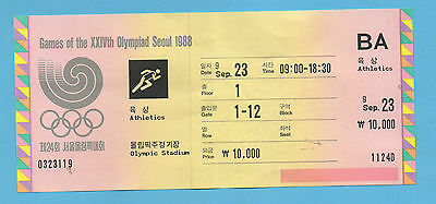 Orig.Ticket   Olympic Games SEOUL 1988  -  ATHLETICS 23.09. / 3 Final`s !! RARE