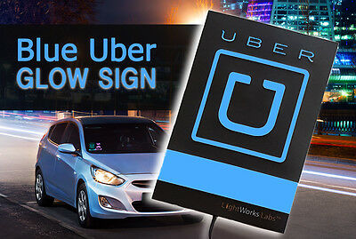 Glowing blue (illuminated) Uber logo light sign for your car