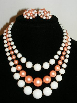 Vintage Japan White & Pink Beaded Necklace & Clip on Earring Set B11
