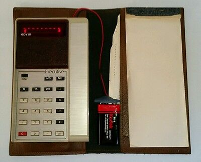 Vintage 1975 Novus Executive Red LED Calculator Wallet Instructions Notepad