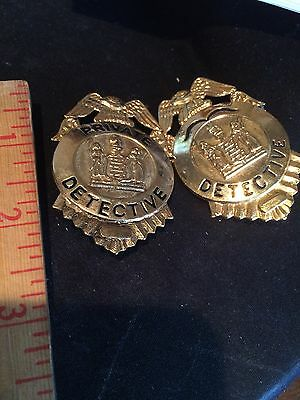 Two Detective  Badges Gold tone