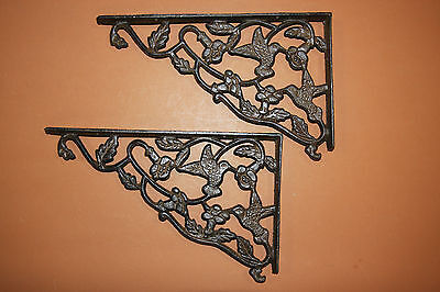 (10) LG ANTIQUE LOOK,shelf brackets,HUMMING BIRD,country decor,home, garden,B-40