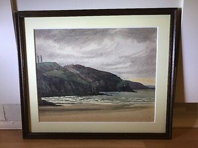 Lovely Vintage 1930's Watercolour Painting Of Coastal Scene In Wood Frame