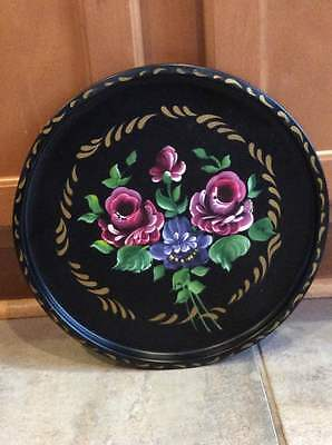 Tin Tole Hand painted Round Metal Tray NASHCO PRODUCTS NEW YORK Made in USA 11""