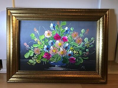 Beautiful Oil Painting On Board Of Flowers In Gold Frame