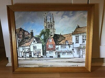 Charming Vintage Signed Watercolour Painting Of Tenterden In Wood Frame