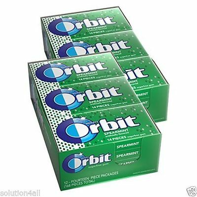 WRIGLEYS Orbit SPEARMINT Flavoured Gum Sugar Free 30 STRIPS 5 Pcs in One Box