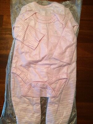 Baby Gap Girls Size 0-3 Months Playsuit Footed Romper & Bodysuit 2 Pieces EUC