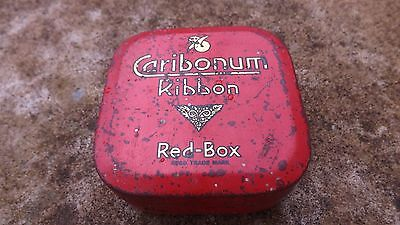 Vintage Collectable Caribonum Ribbon Red - Box Tin , tin