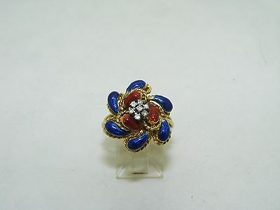 Vintage 1960's Blue and Red enamel diamond ring
