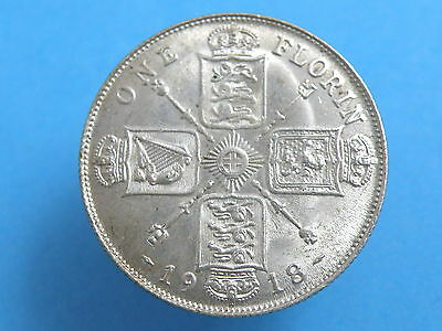 1918 King George V SILVER FLORIN TWO SHILLING COIN - Higher Grade