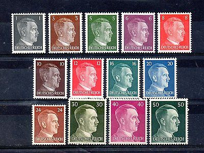 set of 13 mint hitler stamps from germany