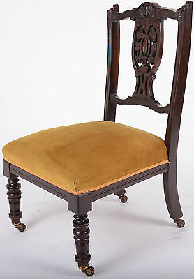Antique Victorian Nursing Chair Bedroom carved Chair Mahogany with FREE delivery