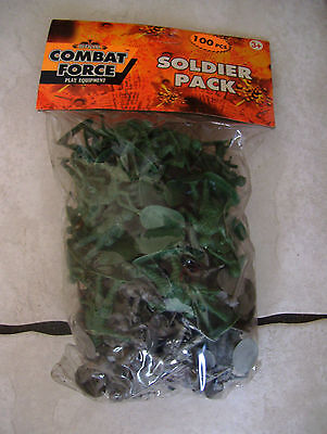 Bag of 100 Green and Grey Plastic Toy Soldiers for Army Military War Games