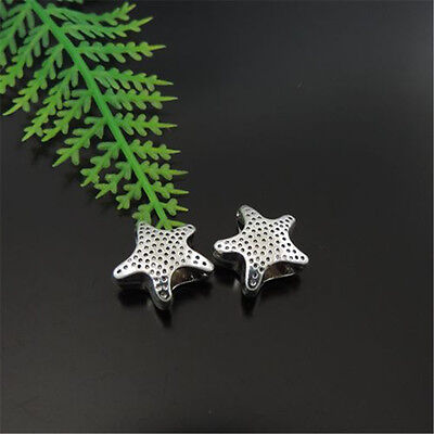 **10PCS Antique Silver Alloy Hollowed Star Beads Pendants Charms 12*12*6mm 39416