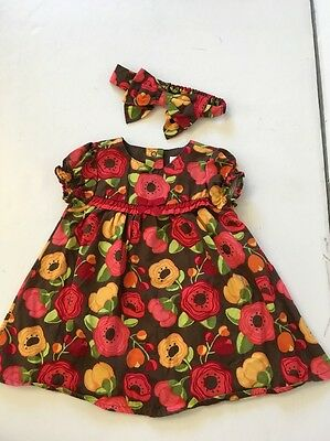 Baby girl clothes, 3-6 months, Gymboree pretty floral dress, matching Headband
