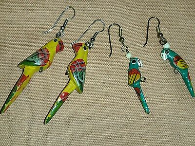 Lot of 2 Vintage Wood Dangle Painted Parrot Bird Earrings Carved Wooden