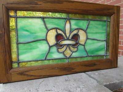 Vintage Stained Glass Fleur De Lis Window w/ Oak Frame
